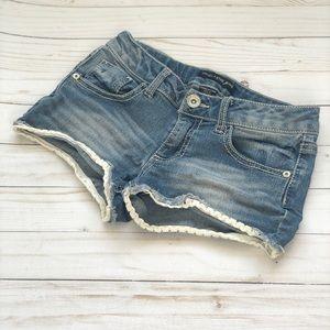 Girls Vanilla Star light wash jean shorts